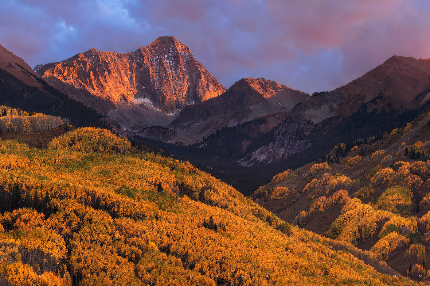 The great 14er, Capitol Peak receives some evening alpine glow from the west.