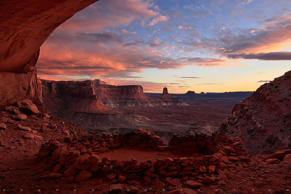 False Kiva at sunset.  Sadly this location has been forever closed to public visits after humans left graffiti  and trash.