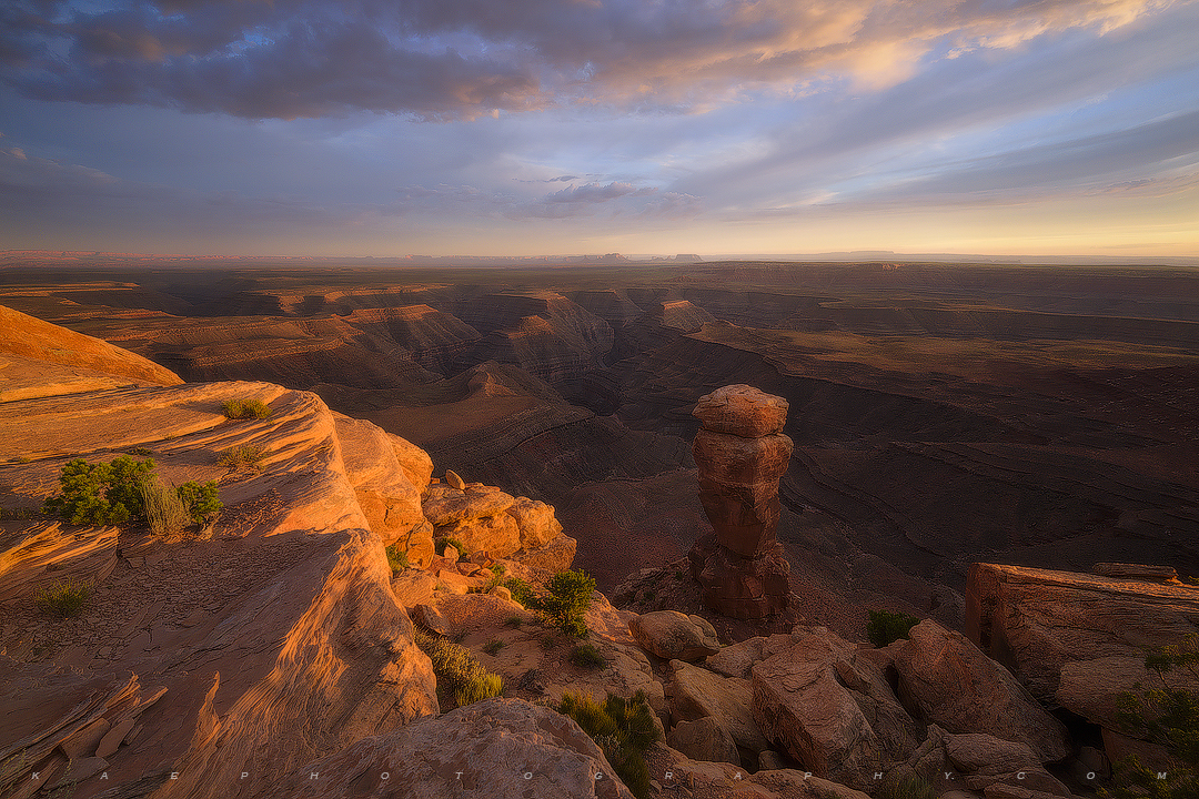 A photo taken at sunset from the edge of Cedar Mesa overlooking the great San Juan River area in south Utah.
