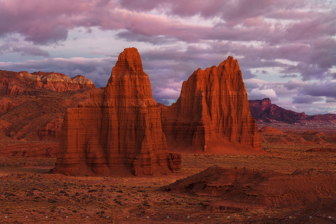 Before sunrise glow at Capitol Reef.