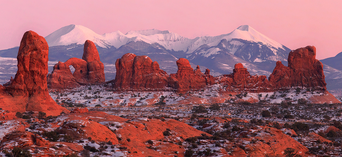 La Sal Mountains, Turret Arch, arches national park, panoramic, photo