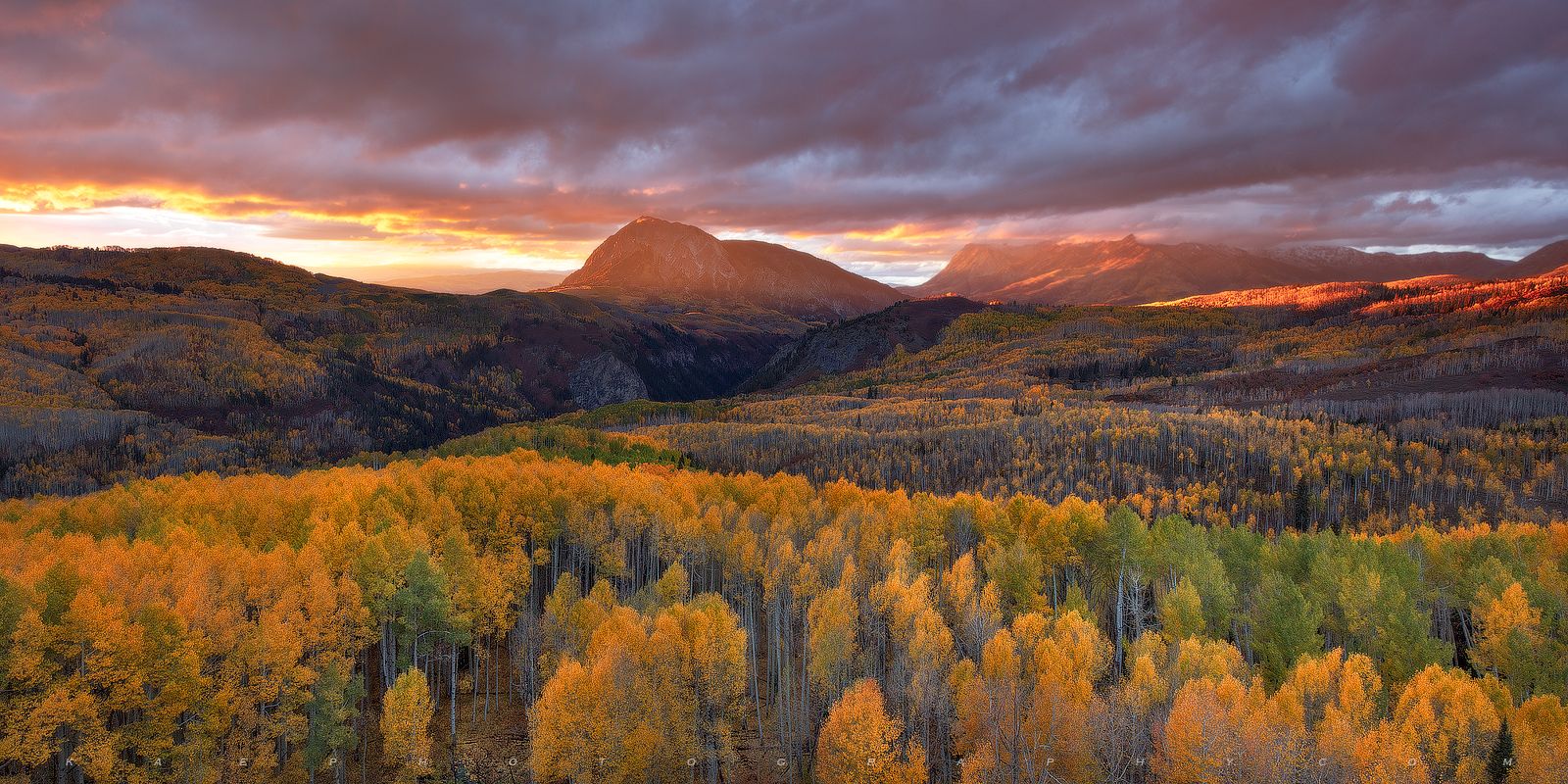 Beautiful Marcellina Mountain surrounded by vibrant reds, yellows, and orange aspen leaves.  This panoramic is one of my personal...