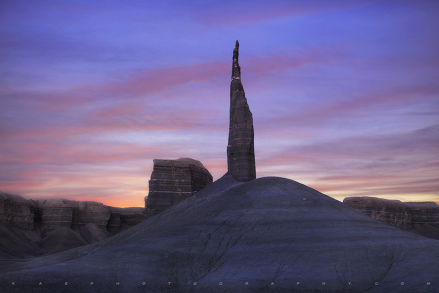 A lone Desert Spire towers above its Colorado Plateau surroundings.